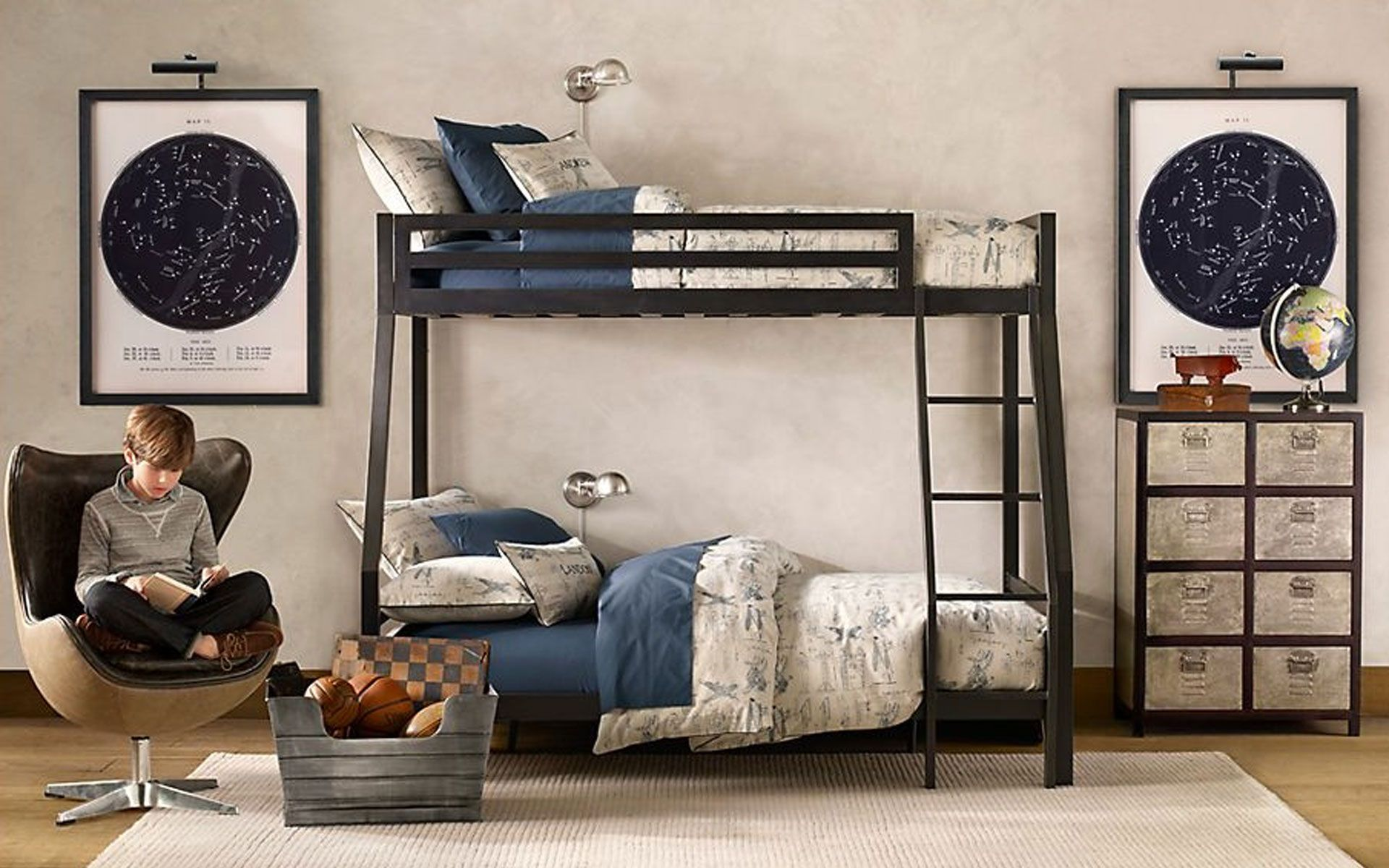 Bedroom designs for boys black - Galvanized Metal Furniture For A Teen Room Ideas Inspiration Design Exquisite Boys Room Ideas