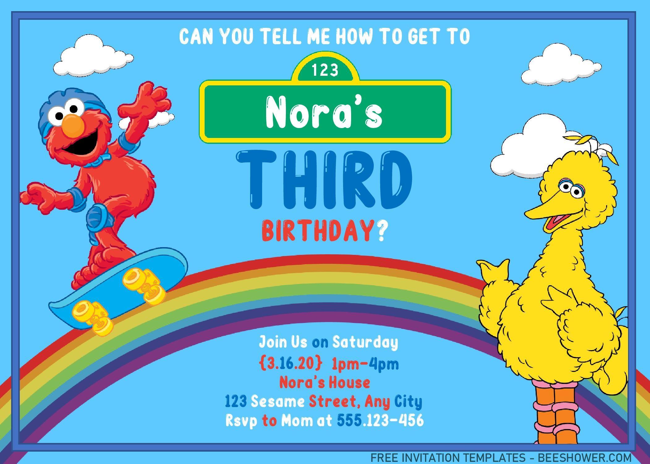 Sesame Street Invitation Templates - Editable With MS Word ...