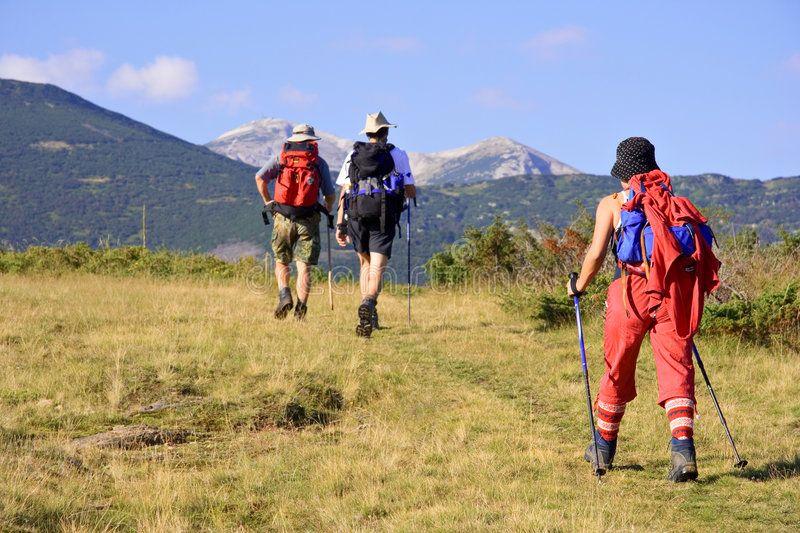People trekking in the mountain Trekking in the mountain