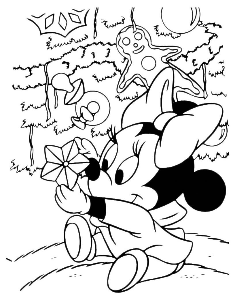 Super baby minnie sotto lalbero disegno di natale da colorare | Disegni  PW99