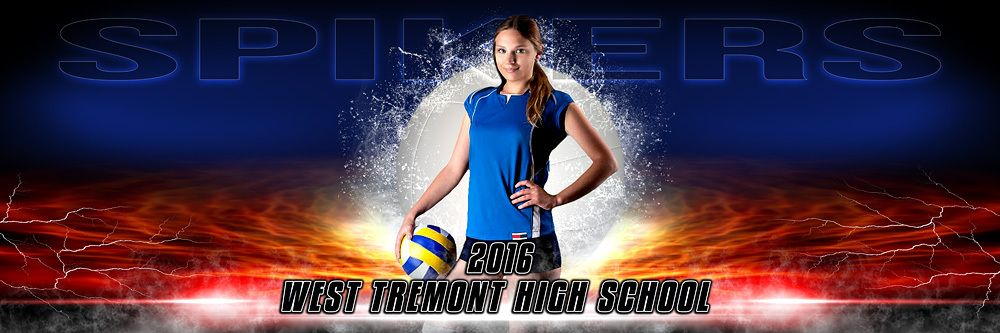 panoramic sports banner template splash volleyball banner