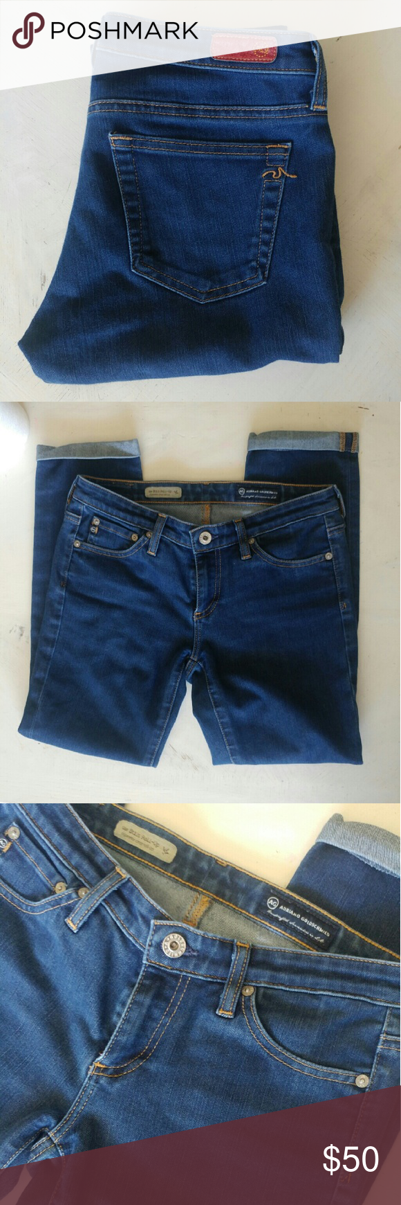 Ag The Stilt Cigarette Crop Roll Up Jeans These AG stilt cigarette crop roll up jeans are in good condition with no stains or holes AG Adriano Goldschmied Jeans Ankle & Cropped