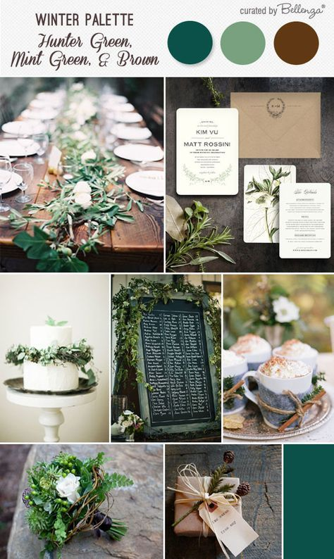 Rustic Winter Wedding Palette Hunter Green Mint Green And Brown