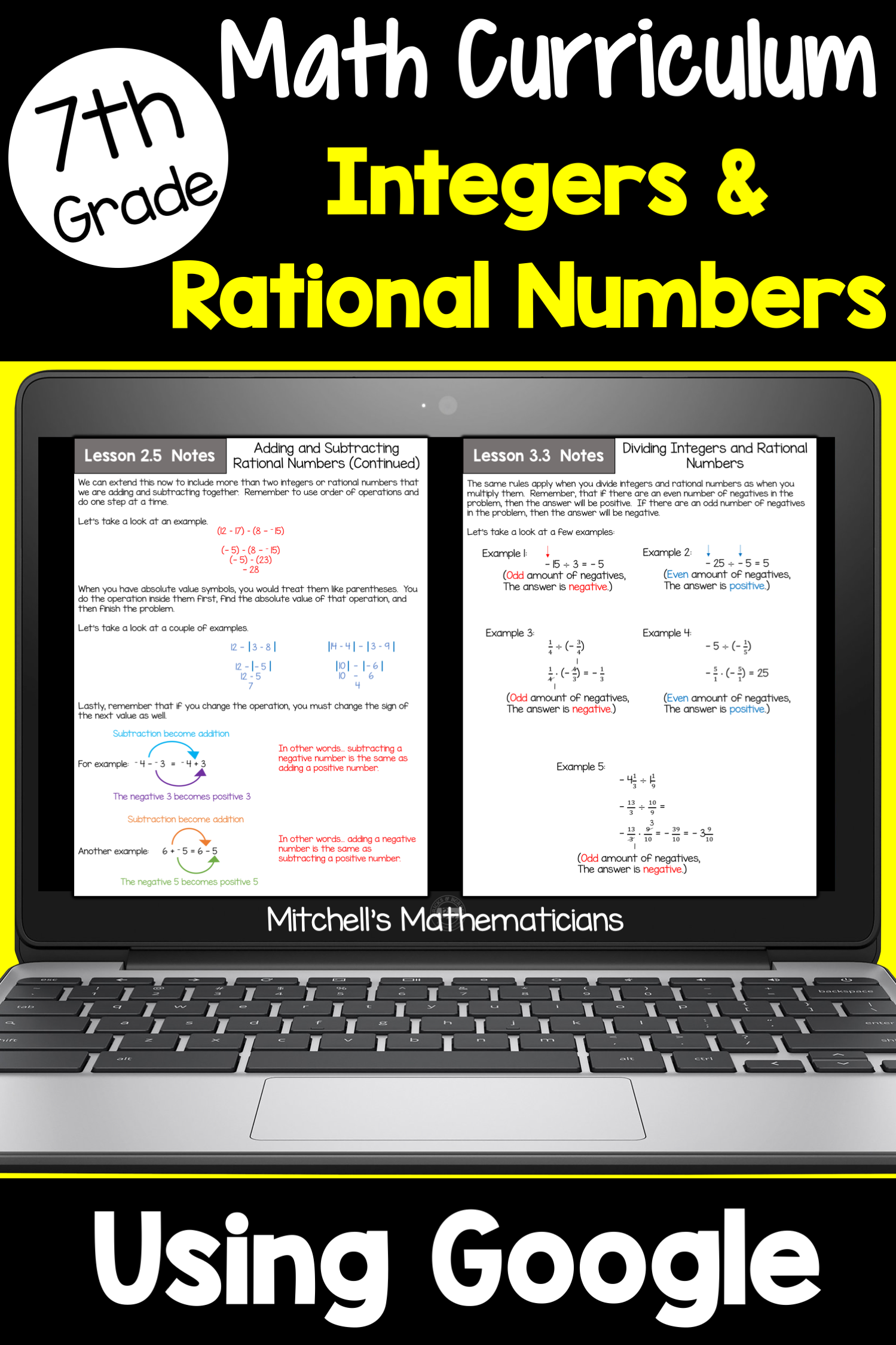 7th Grade Integers And Rational Numbers Math Unit Using