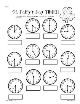 St. Patty's Day / St. Patrick's Day Shamrock Telling Time