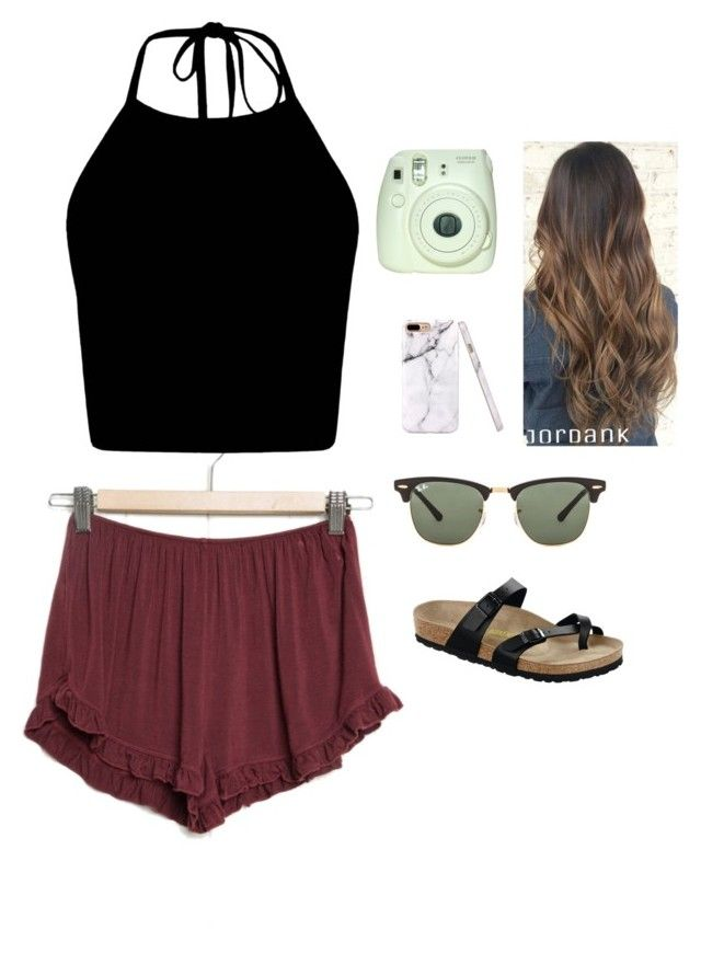 Comfy Cute Outfit By Hannah Hamann  E2 9d A4 Liked On Polyvore Featuring Birkenstock And Ray Ban