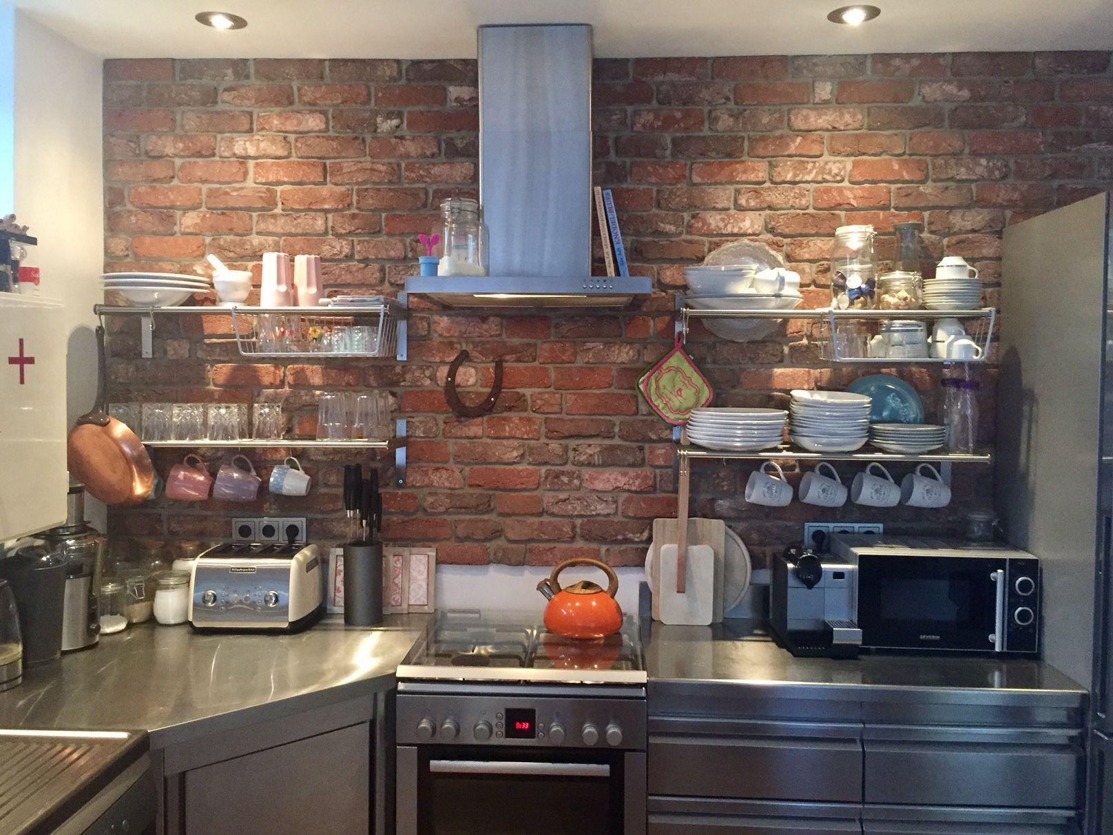 Küchenrückwand, Fliesenspiegel, Klinkerriemchen  Backsteinwand