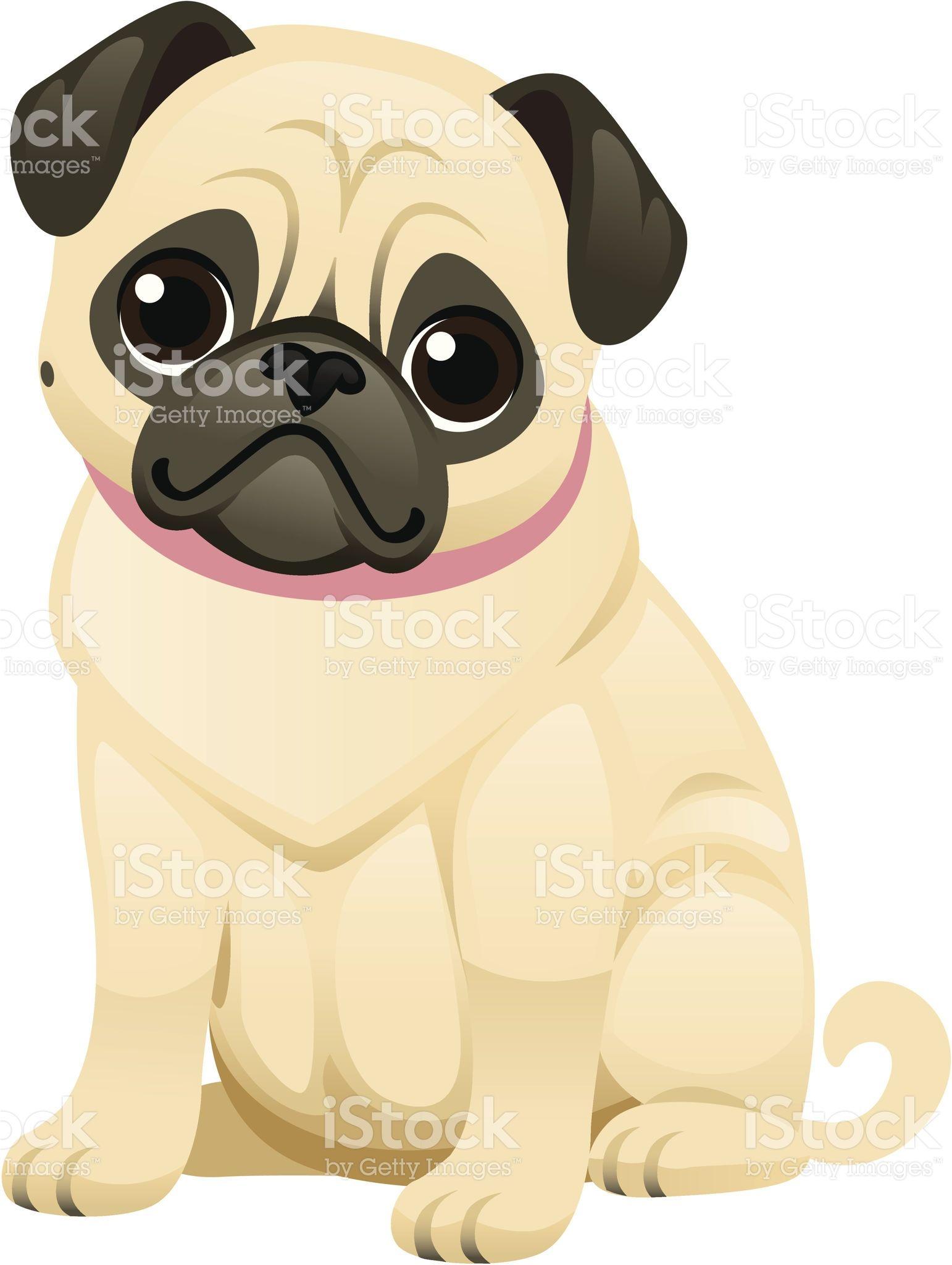 A Sweet Little Pug Wearing A Collar The Face Body And Collar Are Pugs Adorables Dibujos De Perros Perros En Caricatura