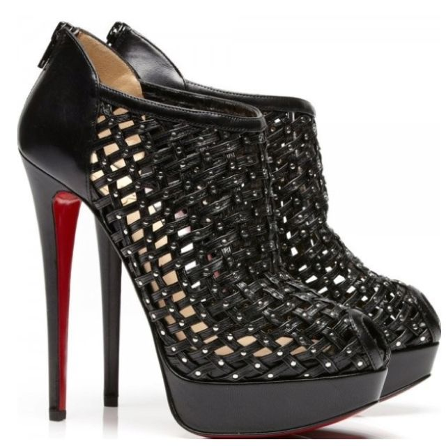 c14fa32bae2 CHRISTIAN LOUBOUTIN Kasha 150 black leather caged peep toe booties ...