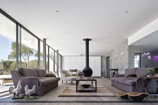 Geraumiges Wohnzimmer Raue Beton Wand Dekorationen Individuell Gestalten Stil Fabrik
