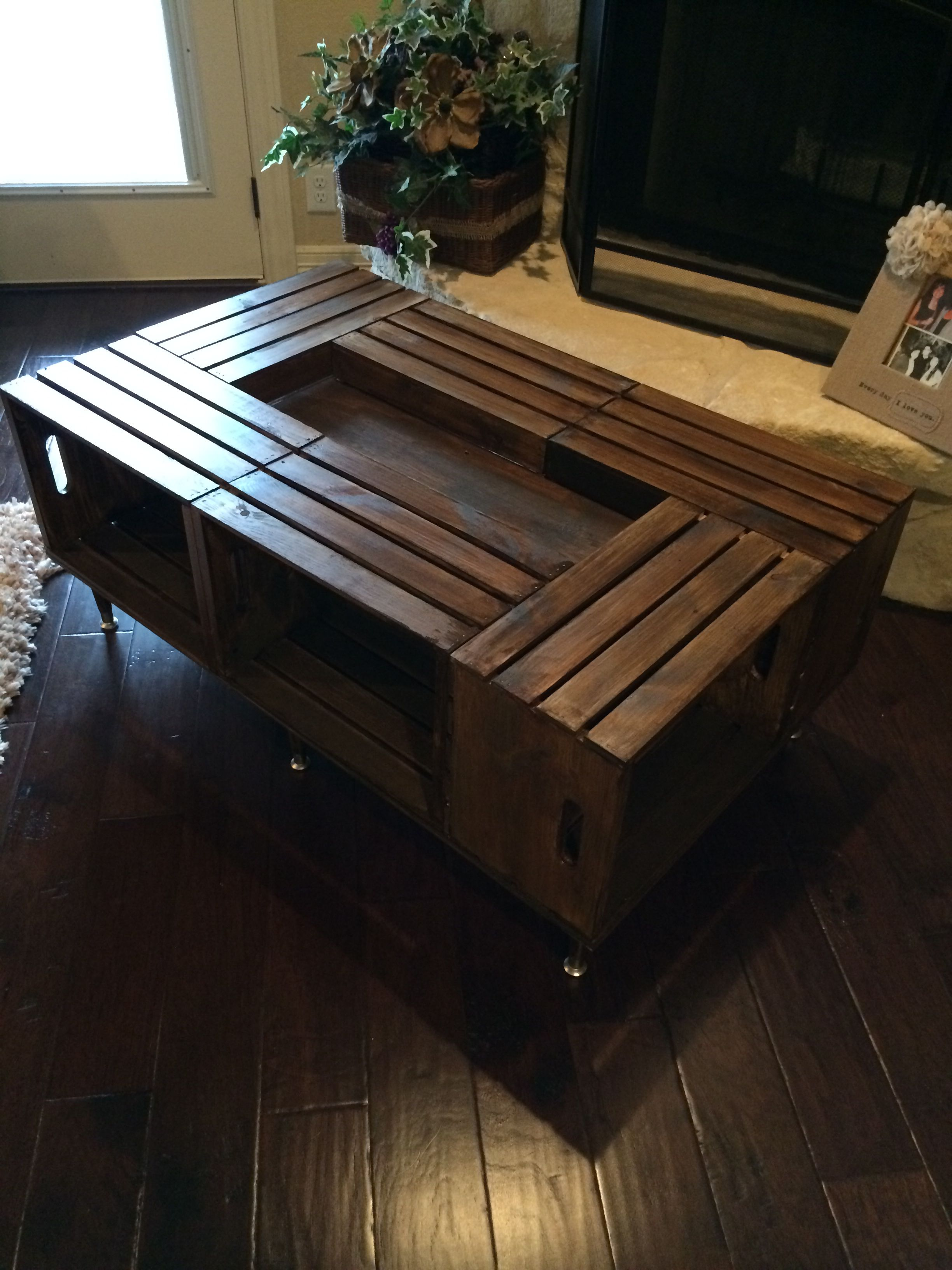 Crate coffee table i had made the 4 crate table that for Table made from crates
