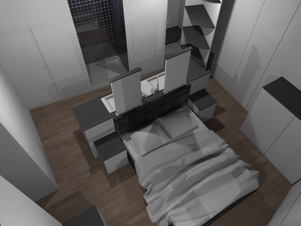 Faire d 39 une chambre de taille moyenne une suite avec wc salle de bain dressing et lit tout en - Suite parentale dressing salle de bain ...