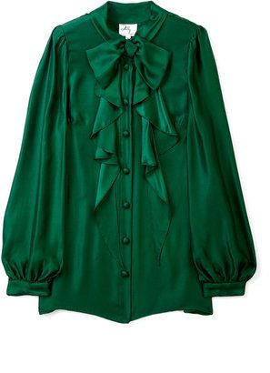 8c19d680 Milly Emerald Green Charlyee Bow Blouse - ShopStyle Button Front ...