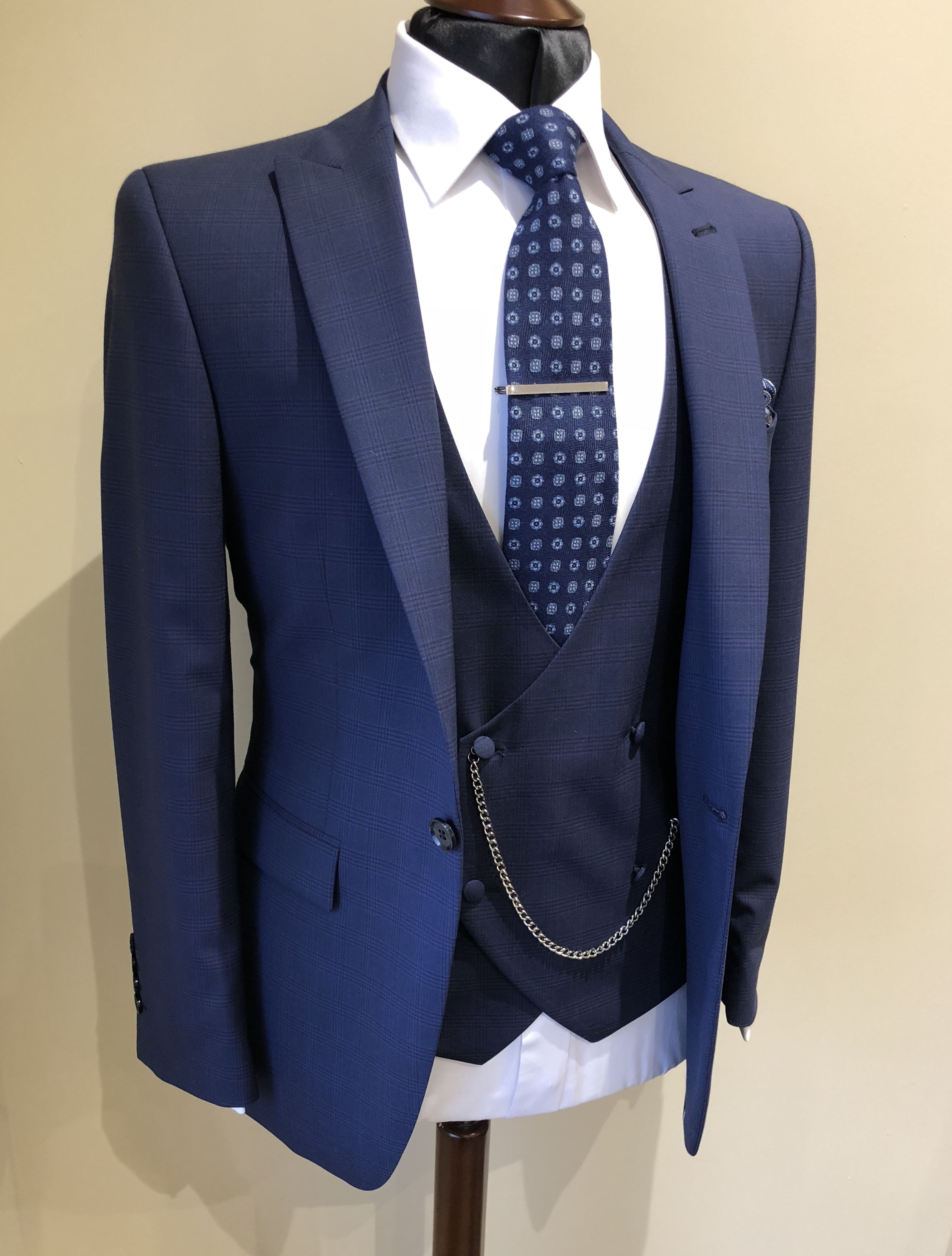 Blue check suit Double breasted waistcoat Wedding suit