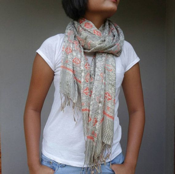 Gray Silk Scarf (C02), Silk Batik Scarf, Batik Silk Scarf