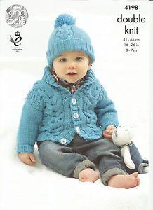 King Cole Baby Cardigans /& Hat Cherish Knitting Pattern 4198 DK