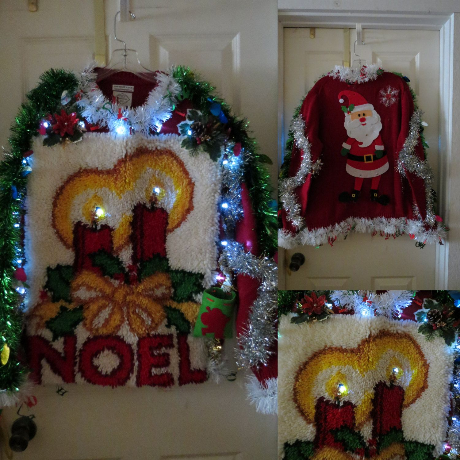 Funny Huge Noel Candle Rug Sweater Tacky Ugly Christmas Sweater