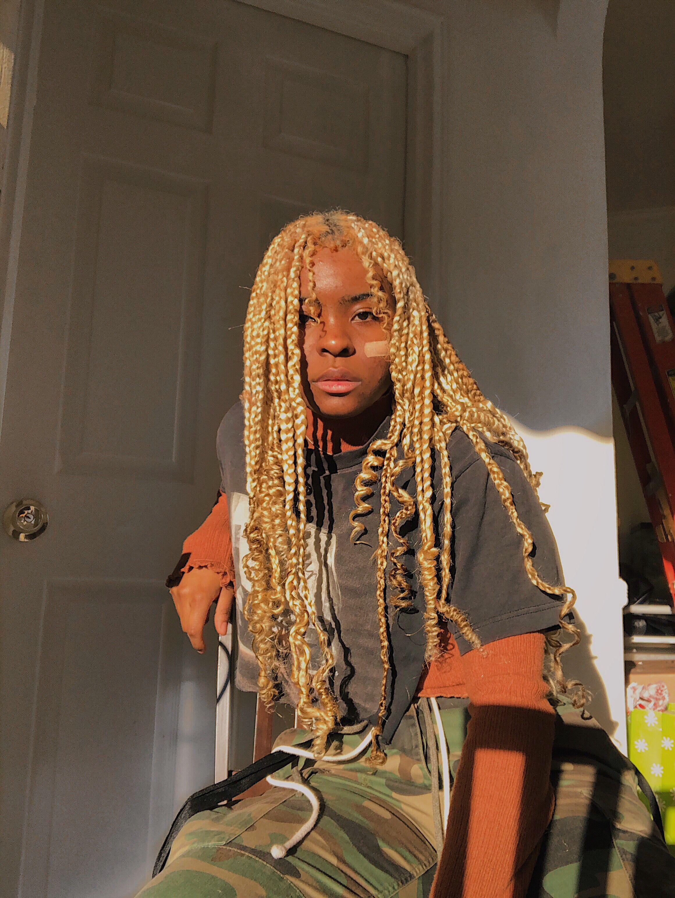 Blonde Box Braids With Curls