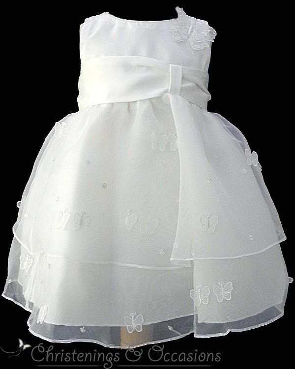 Girls ivory christening dress and headband with applique butterfly ...