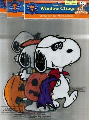 Peanuts Spooky Jelz Snoopy  Woodstock Halloween Gel Window Cling - halloween window clings
