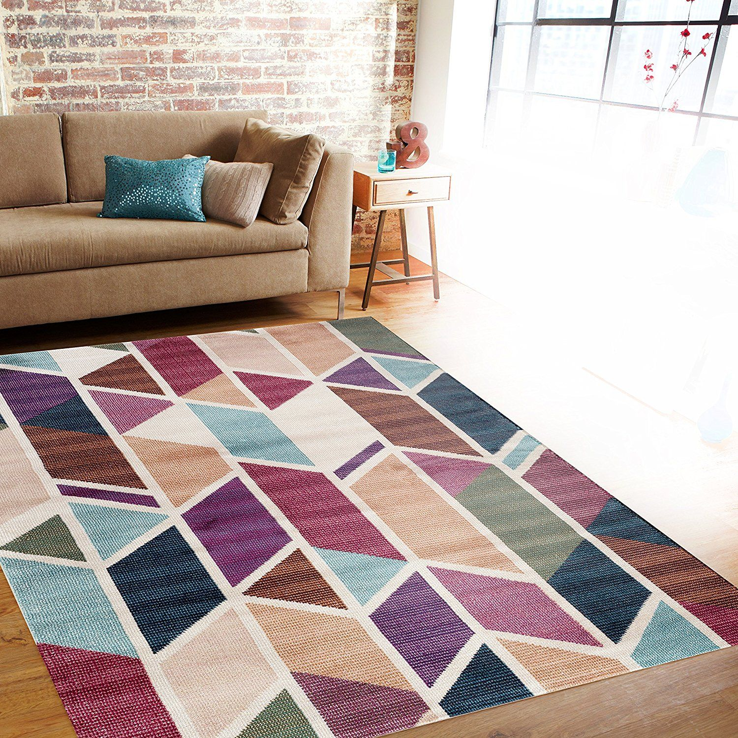 Rugshop Modern Geometric Design Color Soft Indoor Area Rug 7 10