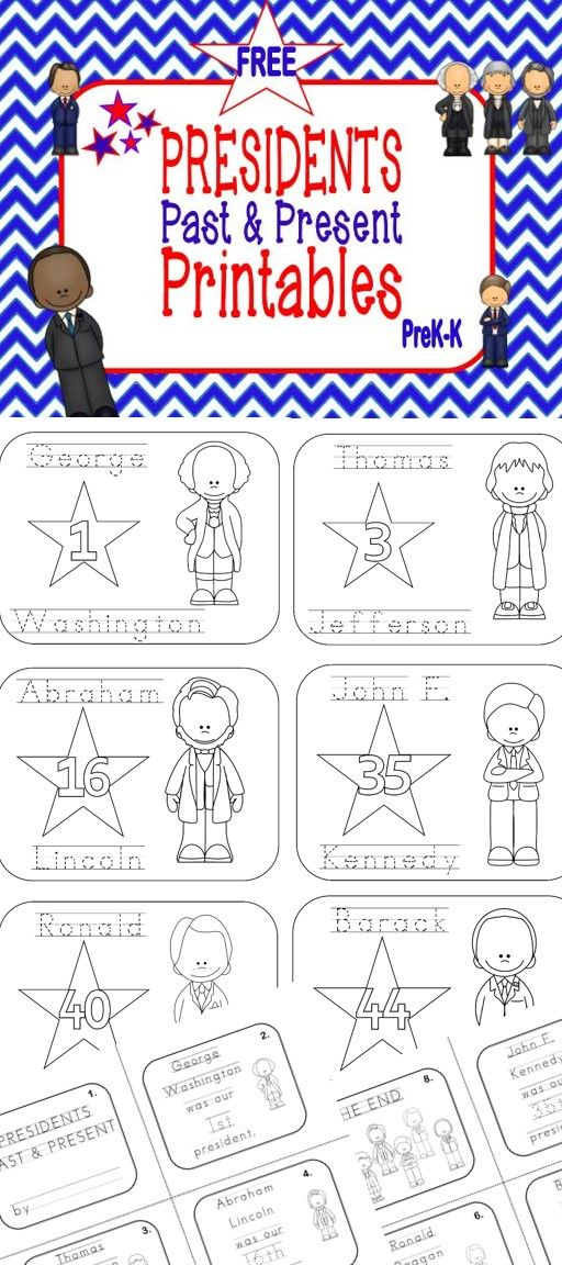 FREE! Coloring Pages with Traceable Words and Mini Book | president ...