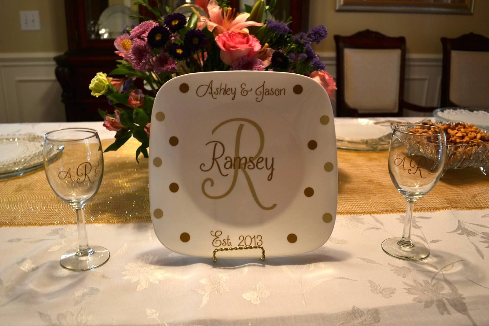 Personalized wedding gift set. Bought the plate at WalMart and the