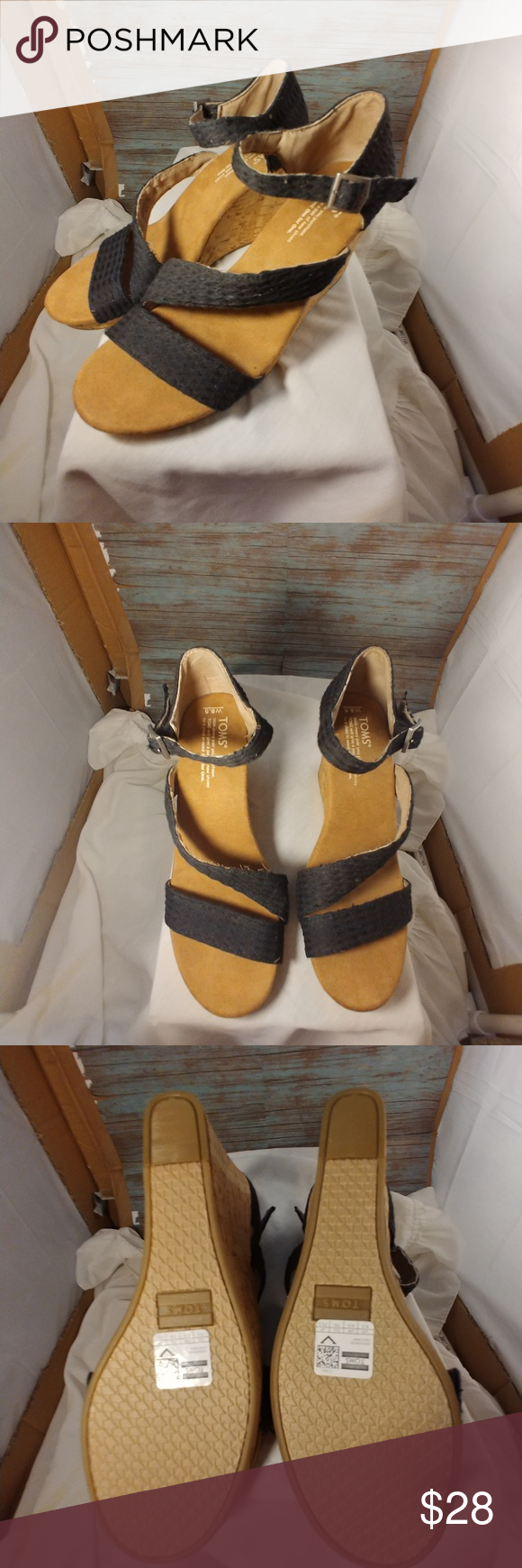 Tom's Wedges Tom's Wedges in good condition. The sole appears to be new. These shoes are 8.5 Toms Shoes Wedges #tomwedges Tom's Wedges Tom's Wedges in good condition. The sole appears to be new. These shoes are 8.5 Toms Shoes Wedges #tomwedges