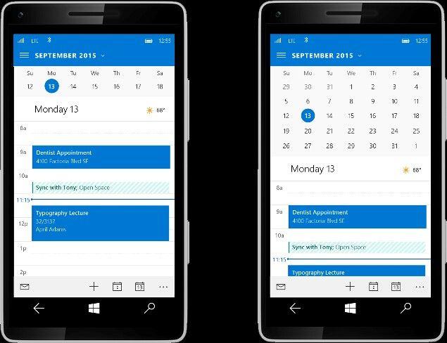 Windows 10 for phone Calendar app UI  Sunrise deal is all