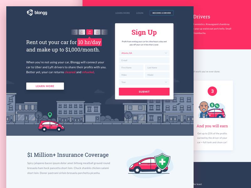 Blongg Sharing Car To Uber And Lyft Driver Lyft Driver Web App Design Lyft