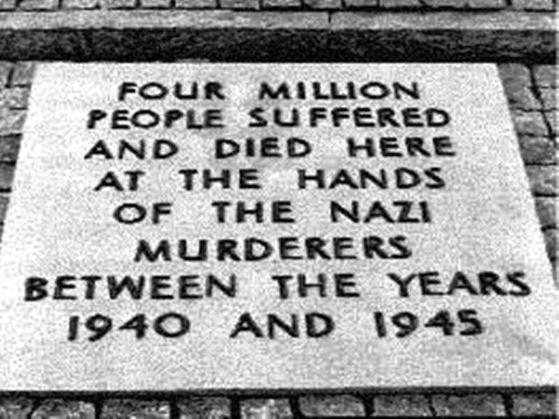 Image result for auschwitz 4 million died plaque