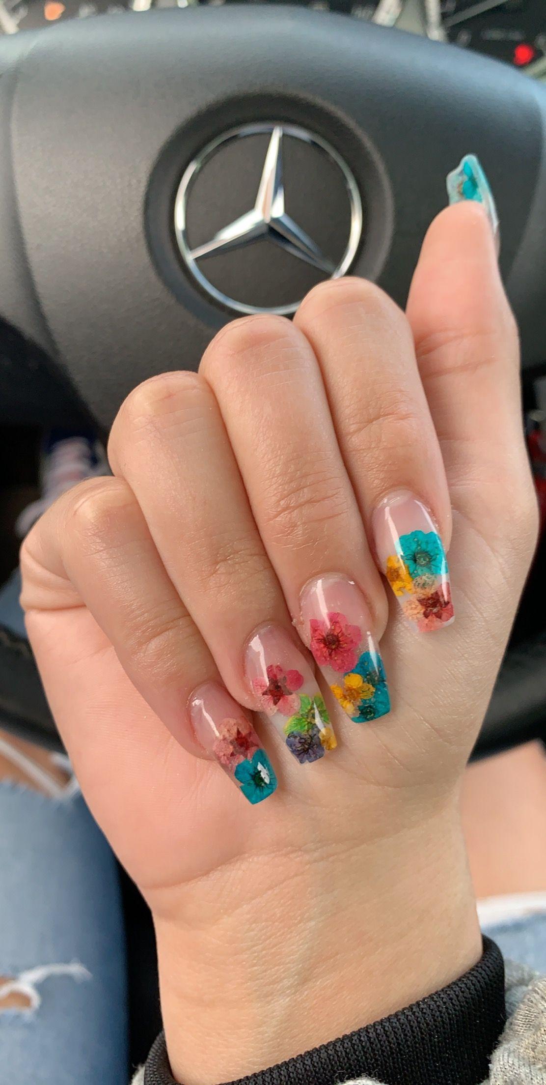 Flower Nails Summer Summernails Flowers Floral Dryflower Encapsulatednails Blue Pink Yellow Acrylic Ac Flower Nails Encapsulated Nails Yellow Nails