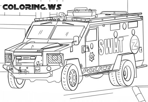 police car coloring pages pdf | Police Swat Truck Coloring Page | Truck Coloring Pages ...