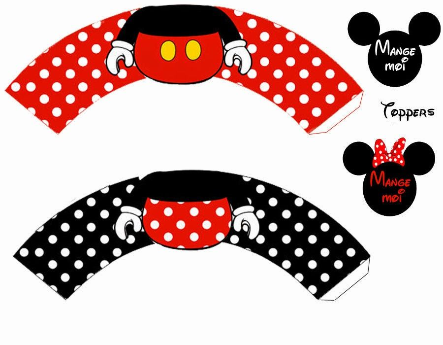 So Nice Mickey and Minnie in Red Free Printable Cupcake ... Mickey Mouse Cupcake Toppers Free