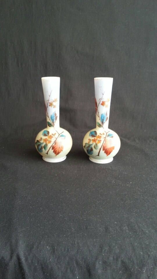 2 Hand Painted Opaline Satin Glass Vases Enameled Antique Glass