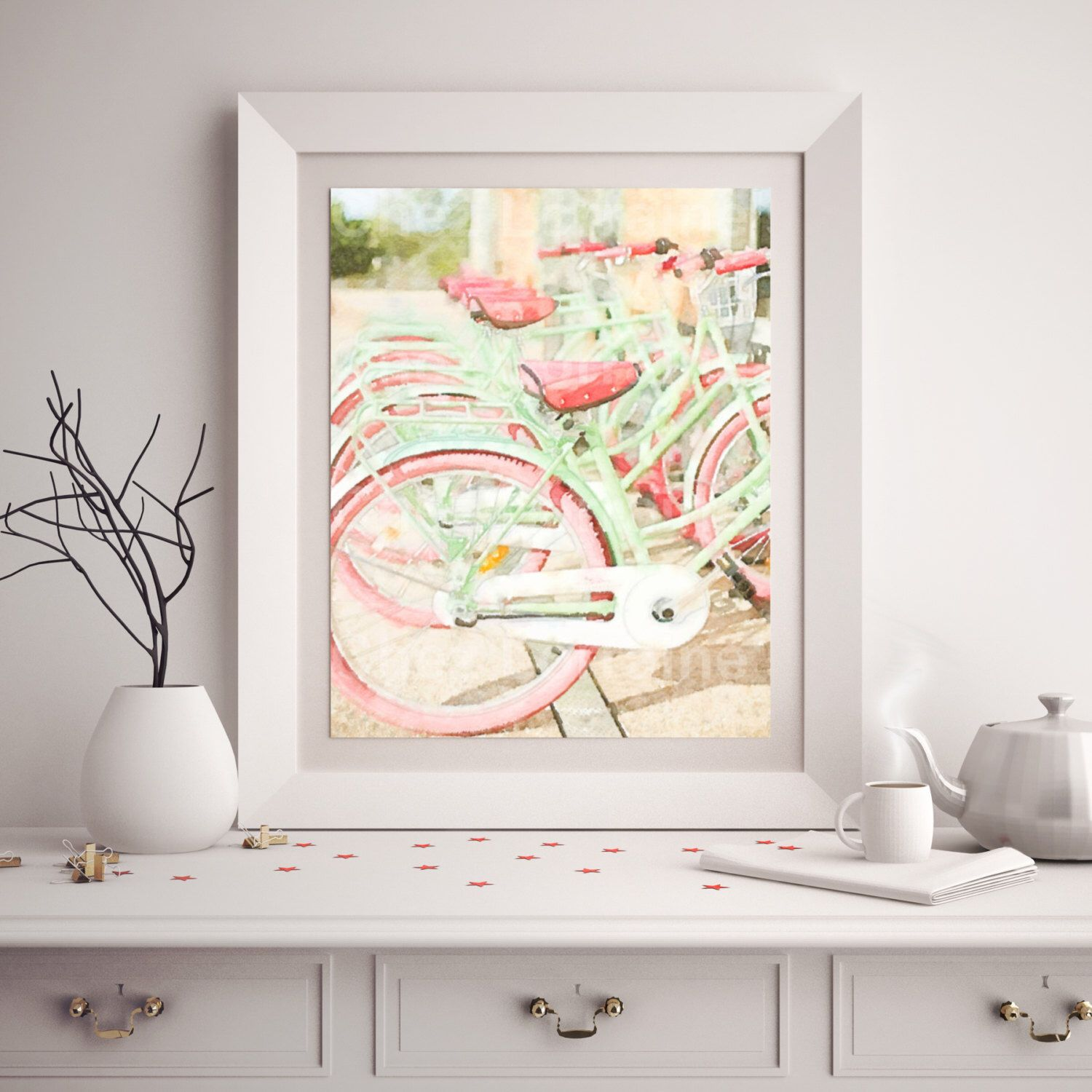Retro pink and mint green bicycle art print beach cruiser
