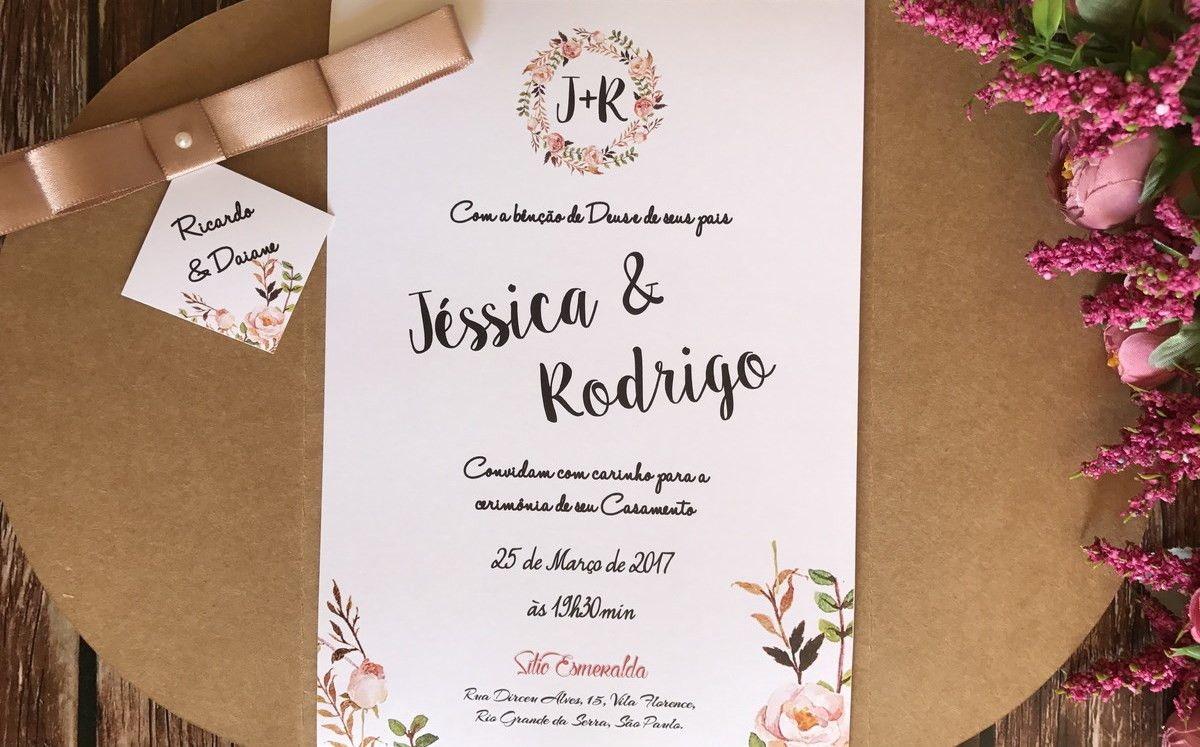 Convite Casamento Rústico Floral Nude R01 no Elo7   ACF