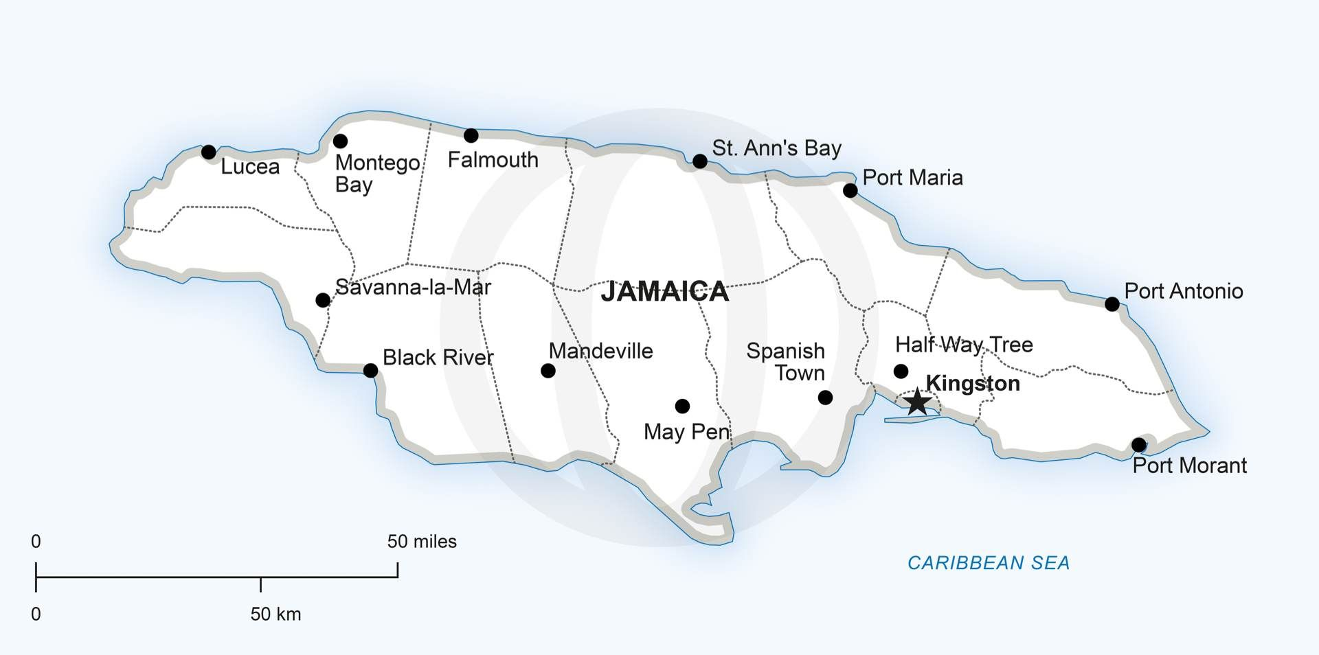 Vector Map Of Jamaica Political - Political map of jamaica