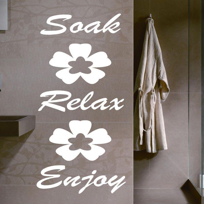 SOAK RELAX ENJOY-Bathroom Wall Quote Sticker Vinyl Decal Home Art Wall Decor