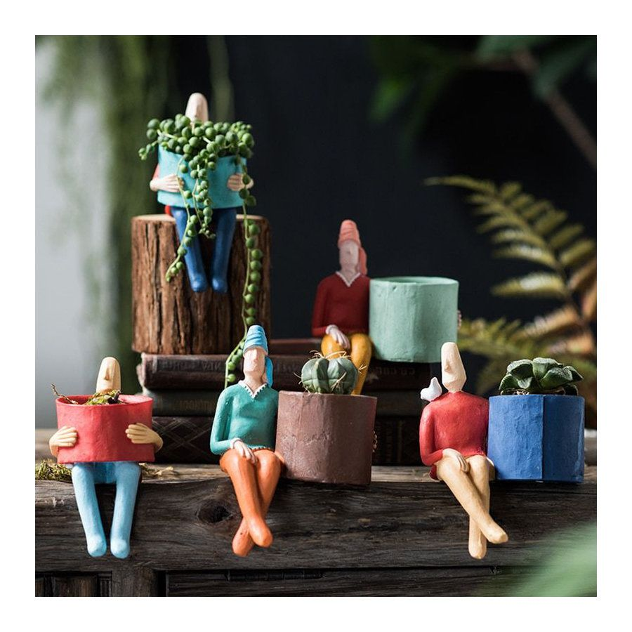 10 Red Ceramic Pots Dollhouse Miniatures Supply Deco Garden