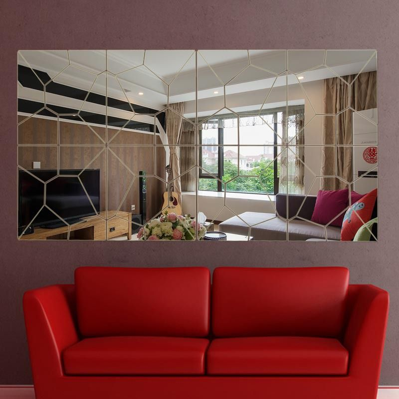 56pcs diy broken mirror home decoration fashion 3d mirror surface wall stickers living room wall home