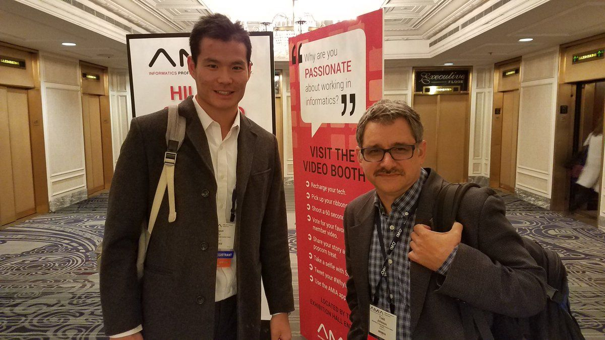 The many faces of SBMI. Faculty member Todd Johnson & student Stanley. #AMIA2016
