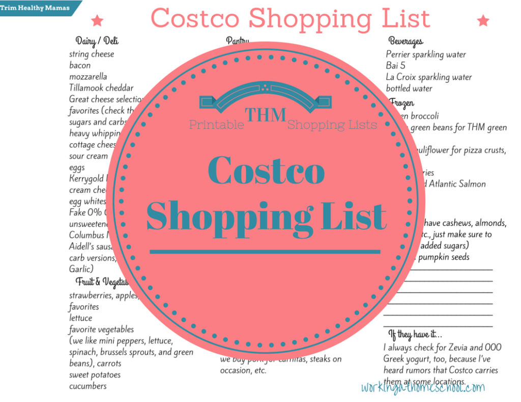 picture relating to Trim Healthy Mama Printable Food List called Slender Wholesome Mama Printable Costco Listing THM Printable Evening meal
