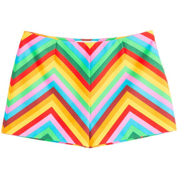 Valentino Cotton-Silk Chevron Print Shorts (1.774.615 COP) ❤ liked on Polyvore featuring shorts, valentino, bottoms, short, black, pants, women, multi colored shorts, colorful shorts and zipper shorts