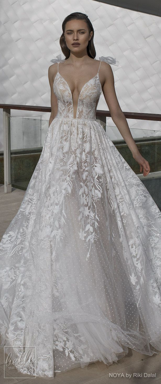 Lace v neck maxi dress april 2019 NOYA By Riki Dalal Wedding Dresses Spring  Forever Bridal
