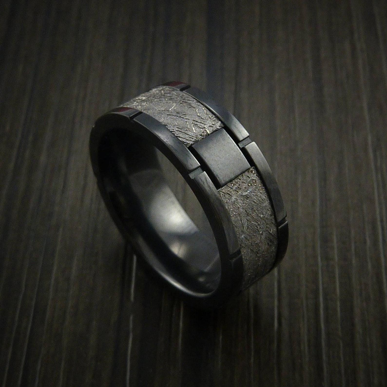 Gibeon Meteorite In Black Zirconoium Wedding Band Made To Any Etsy In 2020 Mens Gold Jewelry Clean Gold Jewelry Mens Wedding Rings
