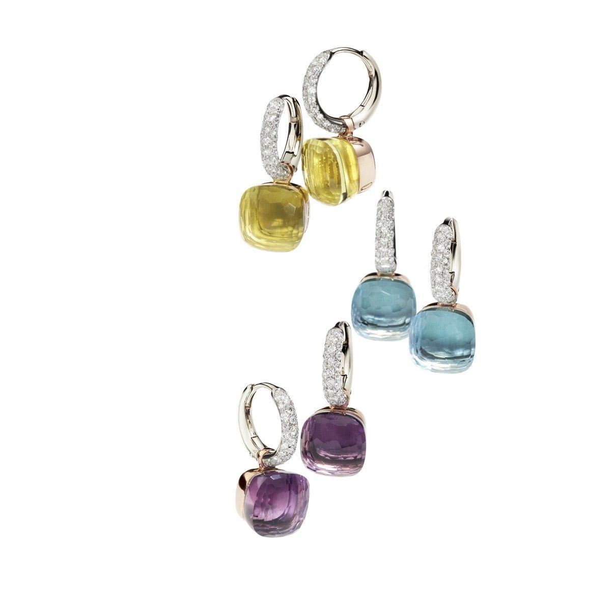 Oro Pomellato Nudo con diamantes pendientes en blanco y rosa con topacio azul, amatista o limón cuarzo y diamantes blancos