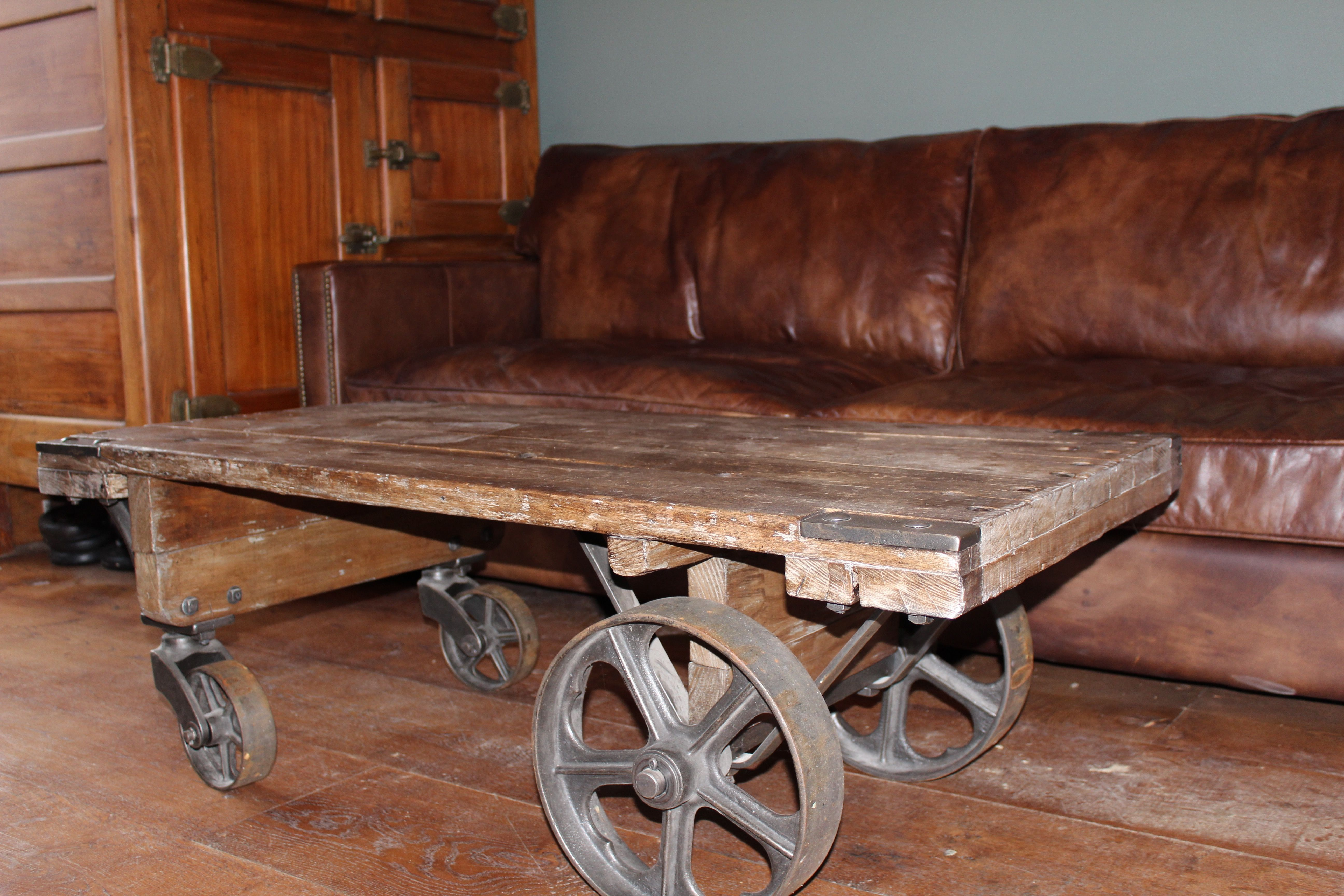 Vintage Industrial Cast Iron Wood Factory Cart Coffee Table