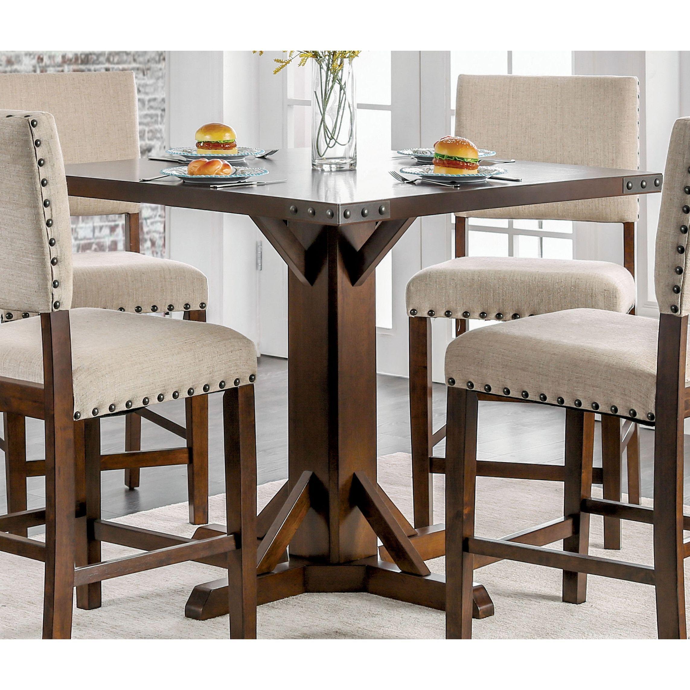 Furniture of America Banea Rustic Nailhead Brown Cherry Counter