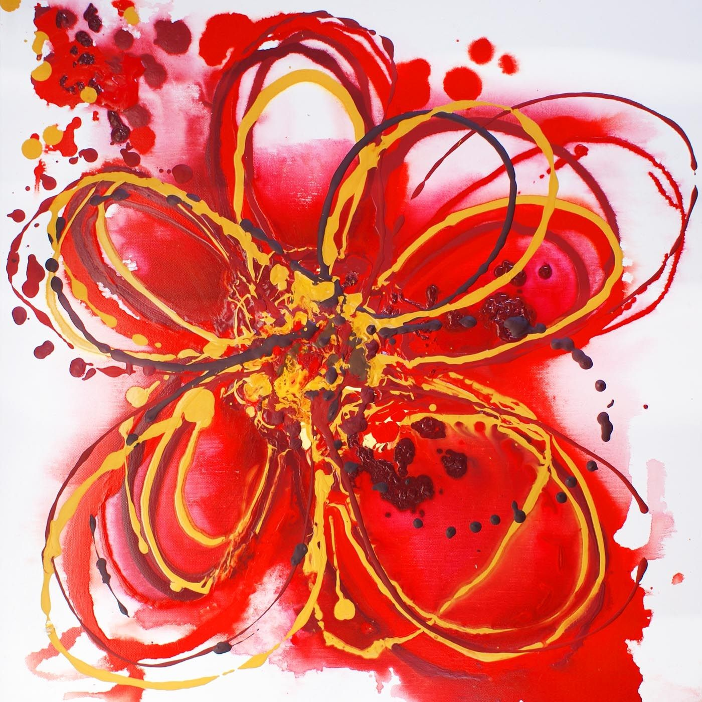 Abstract flower paintings red abstract flower irena